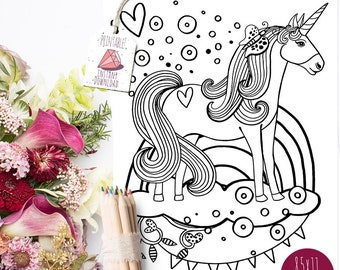 Coloring Page Printable, Unicorns and Rainbows, Mythical Creature, Confetti Unicorn, Instant Download Colouring Page, Childs room decor