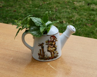Vintage Small Size Ceramic WATERING Can Child with Flowers and Bird Perfect Apartment size Farm House Country Decor