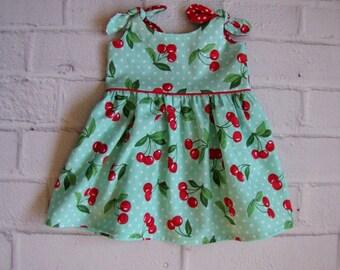 Retro Baby Dress, Any Size Girls Dress, Aqua Cherries Infant Dress, Baby Easter Dress, Rockabilly Baby Dress, Turquoise Red Baby Dress