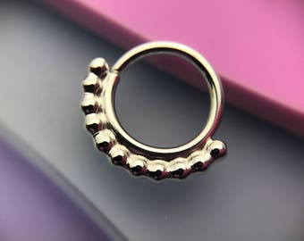 Mini India Septum Ring - Solid Sterling Silver - Daith Rook Helix Nostril