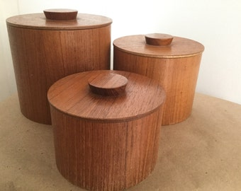Vintage Danish Modern Teak Set 3 Stacking Containers