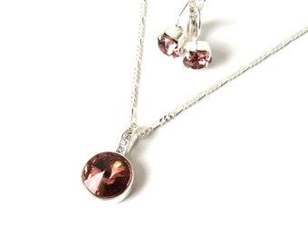 Blush Pink Necklace Set, Blush Pink Jewelry Set, Bridesmaid Jewelry Blush Pink, Blush Necklace Earring Set, Blush Pink Wedding Jewelry Sets