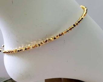 Gold Aurum Crystal Crystals 2X Anklet Ankle Braclet made with Swarovski will CUSTOM Size