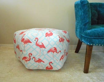 Pouf in Flamingo Fabric, Ottoman, Pillow Stool, Tropical Bird Decor,  Pink Flamingo Ppuf