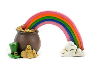 Fairy Garden Rainbow with Pot of Gold Figurine, Mini St. Patrick's Day Decoration, Fairy Garden Supply, Miniature Rainbow, Mini Pot of Gold