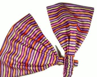 Striped Extra Wide Headband, Purple Stripe, Multi Color,  Head Wrap, Head Scarf for Women, Bandana Style, Yoga, Workout, Boho  Headband