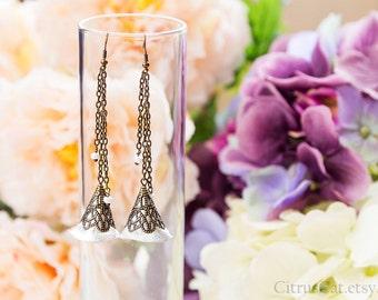 Silver bells - long leather earrings. Romantic jewelry, graceful jewelry, elegant earrings, shabby chic jewelry
