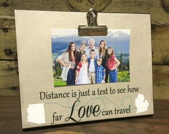 Custom Distance Picture Frame, Distance Is Just A Test To See How Far Love Can Travel, Valentine's Day Gift,  Grandparents Gift,