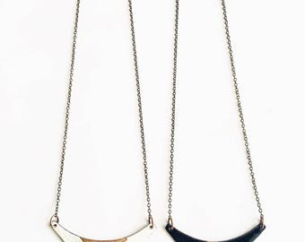 Enamel and Gold Patina Necklace