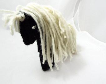 Crochet  Black and White Horse Plushie