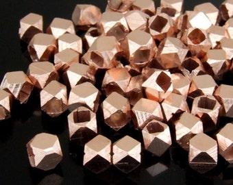 KZ-208 thai karen hill handmade tribe silver 15 rose gold vermeil facet bead