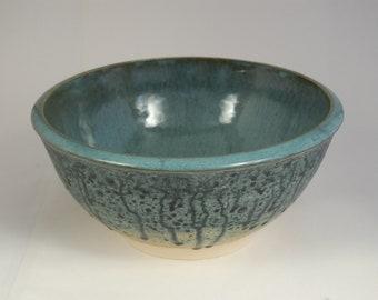 Footed Blue Ash Glaze Bowl