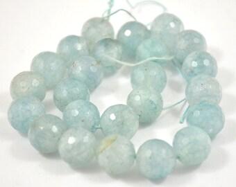 """L Charm 13mm Faceted Round  Aquamarine Quartz Gemstone Beads Strand 16"""""""