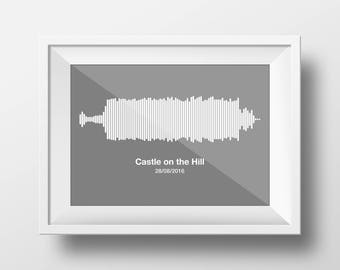 Any Song Minimalistic Sound Wave Print Fully Personalised Soundwave Picture - Completely Personalisable - A5 A4 A6