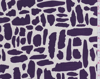 Ivory/Purple Silk Crepe de Chine, Fabric By The Yard