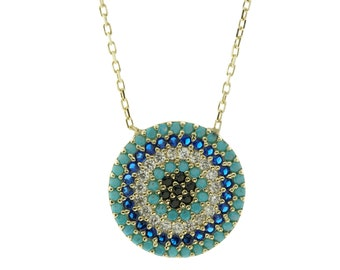 Gold Hamsa Evil Eye Cubic Zirconia Turquoise Necklace