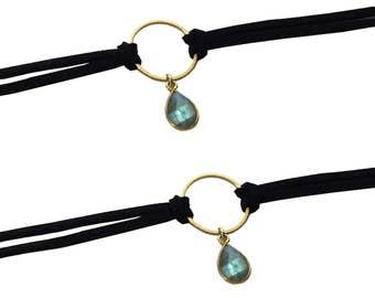 Black Leather Choker Necklace | Labradorite Choker | Double Wrap Choker