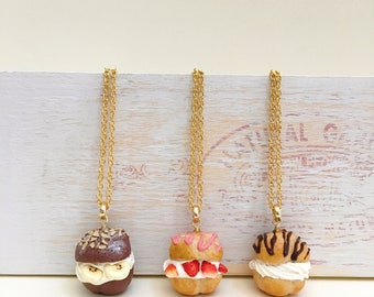 Mother's Day gift|Free shipping|Polymer clay cream puff necklaces|Chocolate/strawberry/vanilla cream puff charms|miniature food|food jewelry