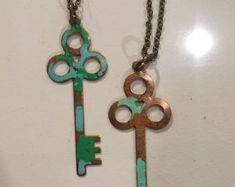 Turquoise and copper keys