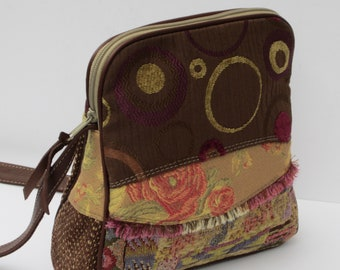 SHOULDER BAG Fabric Collage with Leather  The Colors of Spring by Elizabeth Z Mow