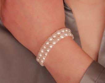 white Pearl Bracelet stacking bracelet elastic bracelet beaded stretch bracelet flower girl gift flower girl bracelet will you be my flower