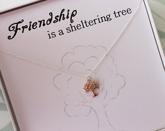 Rose Gold Tree of life Necklace and message card, Friendship Necklace, Gift for her, Thank you gift, best friend gift