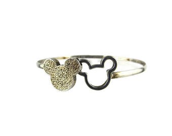 Mickey Mouse Head Bracelet  /  925 Sterling Silver Bangle 8 grams