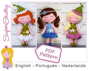 Felt pattern Daisy, Bluebell & Flora, softie pattern doll, plush pattern fairy, pdf sewing pattern fairytale by Superskattig