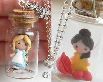 Small bottle Princess necklace, Alice, Belle, necklace