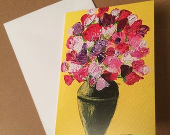 Sweet Peas A6 Blank Greeting Card - taken from acrylic painting