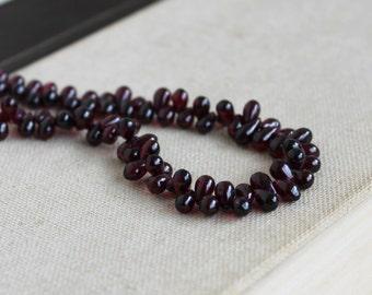 Garnet Briolette AAA Maroon Smooth Teardrop 6.5 to 7mm 30 beads