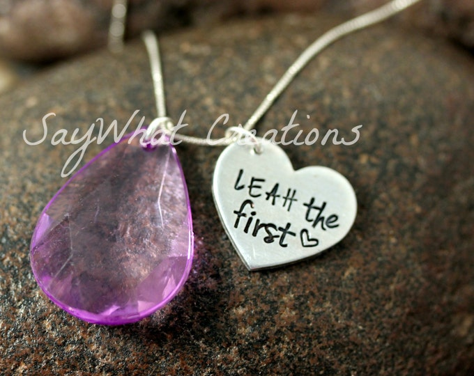 "Hand Stamped Necklace with Purple Amulet Crystal Charm and Personalized Name with ""the first"""
