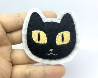 Black Cat Hand Sewn Wool Felt Pin