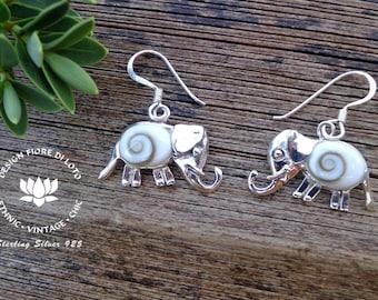 Silver Elephant Earrings Sterling Silver Dangle Earrings Elephant Jewelry Seashell Elephant Earrings Safari Lovers Elephant Lovers Jewelry