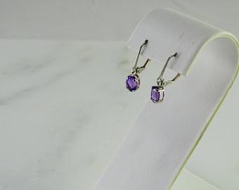 Petite Purple Stone Sterling Pierced Earrings