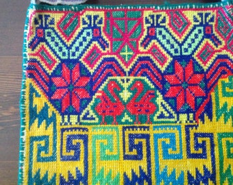 "Mexican Huichol Shoulder Bag or Morral in ""Punto de Cruz"" or Cross-Stitch Embroidery"