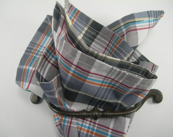 Cotton pocket square plaid mixed colours