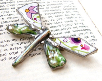 Polish folk brooch/Floral brooch/polish jewelry/polish gift/dragonfly brooch/butterfly jewelry/gift for her/for woman/folk patterns/Witrazka