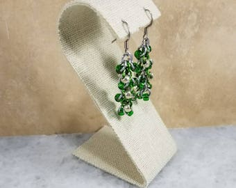 Chainmaille Shaggy Loops Earrings Silver & Green Beaded