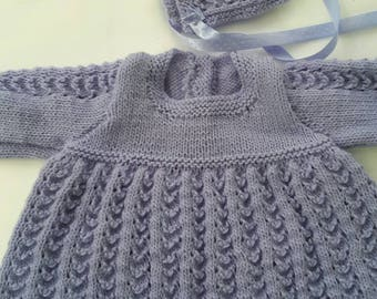 Lilac hand knitted baby dress and bonnet. Girls dress,hat.