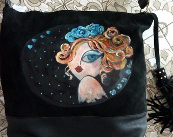 handbag soft leather, hand painted