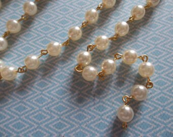 Beaded Chain - Pearl Bead Chain - Rosary Chain - 6mm Ivory Cream Pearls - Gold Bead Chain - Glass Pearls - Jewelry Supplies