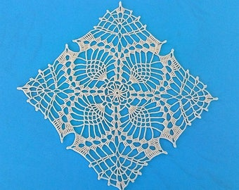 Doily square ecru cotton crochet