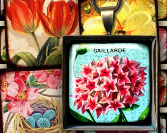 Vintage Bird and Flower Digital Collage Sheet in 1 Inch Squares for Pendants and More with Swans Tulips Nests by piddix 820