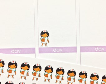 30 African American Little Nurse Stickers! Perfect for your Erin Condren Life Planner, Filofax, Plum Paper & other planner!