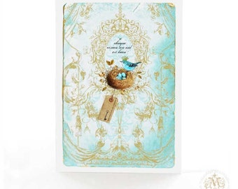 Bird card, bird's nest, French card, new home card, friendship card, blank inside