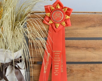Horse show ribbon; 1966 horse show red ribbon; horse show award ribbon; vintage horse show ribbon