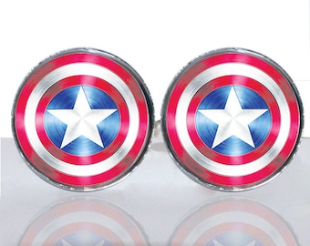 Captain America Shield Round Glass Tile Cuff Links