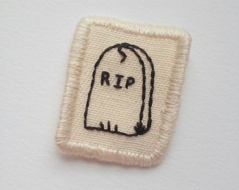 RIP Gravestone Patch Hand Embroidered