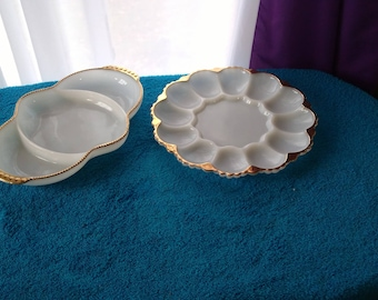 Two Classic Fire King Milk Glass 22 K Gold Trim Serving Dishes Egg Plate Tray ~ Divided Dish